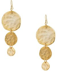 Kenneth Jay Lane - Satin Gold Large To Small 3 Coin Drop Fishhook Earrings (satin Gold) Earring - Lyst