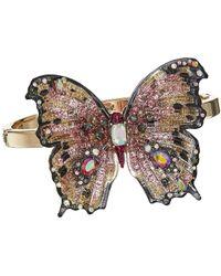 Betsey Johnson - Pink And Gold Tone Butterfly Hinge Bracelet (pink) Bracelet - Lyst