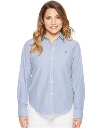 Lauren by Ralph Lauren - Petite Striped Cotton Shirt (blue/white) Women's Clothing - Lyst