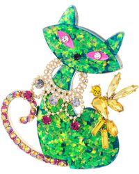 Betsey Johnson - S Green Cat Pin - Lyst