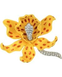 Kenneth Jay Lane - Yellow/brown Spots Orchid Pin (yellow/brown) Brooches Pins - Lyst