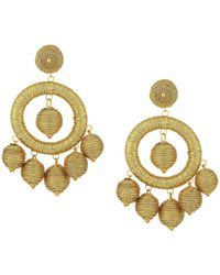 Kenneth Jay Lane - Graduated Gold Thread Wrapped Balls Drops W/ Dome Top Post Earrings (gold) Earring - Lyst
