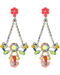 Betsey Johnson - Colorful Floral Chandelier Earrings - Lyst