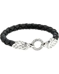 John Hardy - Legends Eagle Double Head 8mm Bracelet And Black Leather - Lyst