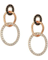 Swarovski - Greeting Ring Pierced Earrings (rose Gold Plating/black) Earring - Lyst