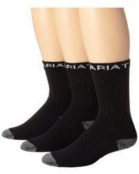 Ariat - Workboot Sock 3-pack (white) Men's Crew Cut Socks Shoes - Lyst