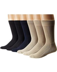 Ecco - Solid Color Rib Cushion Socks 6 Pack (black, Navy, Taupe, Stone) Men's Crew Cut Socks Shoes - Lyst