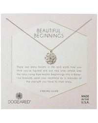 Dogeared - Beautiful Beginnings, Detailed Lotus Charm With Crystal Inset Necklace (sterling Silver) Necklace - Lyst