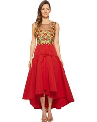 Notte by Marchesa - Sleeveless High-low Embroidered Bodice W/ High-density Silk Faille Skirt - Lyst