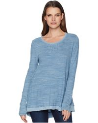 Dylan By True Grit - Washed Indigo Mini Stripe Loose Long Sleeve Tee With Rib Hem (denim) Women's T Shirt - Lyst