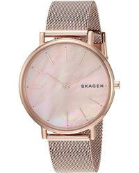 Skagen - Signatur Slim Mother-of-pearl - Skw2732 (rose Gold) Watches - Lyst