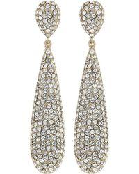 Nina - Elongated Pave Teardrop Earrings; Elements By Swarocski (rhodium/white) Earring - Lyst