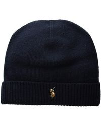 134a6a606a8 Polo Ralph Lauren - Classic Lux Merino Cuff Hat (aviator Navy) Caps - Lyst