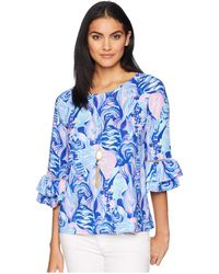 9a468aff70db4 Lilly Pulitzer - Laddie Top (twilight Blue Scale Up) Women s Clothing - Lyst