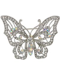 Nina - Open Work Pave Butterfly Brooch (rhodium/white/ab Crystal) Brooches Pins - Lyst