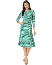 Donna Morgan - Geo Printed Midi Jersey Dress (kelly Green/lilac Multi) Women's Dress - Lyst