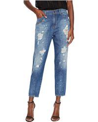 Versace Jeans - Distressed Boyfriend Light Wash Jeans - Lyst
