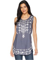 Scully - Tally Embroidered Shirt Tail Tank (wedgewood Blue) Women's Clothing - Lyst
