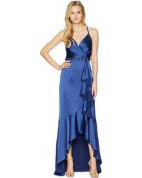 Adrianna Papell - Cascade Ruffle Satin High-low Slip Gown (blue Violet) Women's Dress - Lyst
