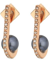 Vince Camuto Pearl And Crystal Ball Huffie Earrings Silver Earring Lyst