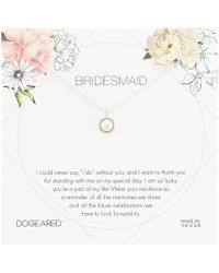 Dogeared - Bridesmaid Flower Card Large Bezel Pearl Pendant Necklace (sterling Silver) Necklace - Lyst