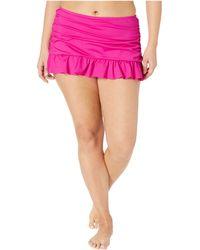 7fd16416e1e Kenneth Cole - Plus Size Ruffle-licious Ruched Skirt (black) Women s  Swimwear -