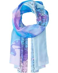 Calvin Klein - Painterly Logo Chiffon Scarf (adrenaline Blue) Scarves - Lyst