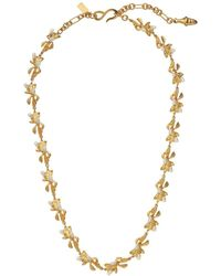 Kenneth Jay Lane - Satin Gold And Pearl Flowers 1 Strand Adjustable 's' Hook Necklace - Lyst