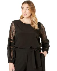 Calvin Klein - Plus Size Solid Long Sleeve With Lace Sleeve (black) Women's Blouse - Lyst