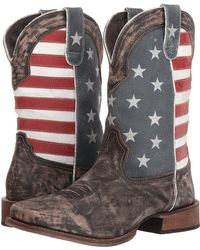 Roper - America (distressed Brown Leather Vamp/flag Shaft) Cowboy Boots - Lyst