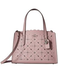 COACH - Charlie 28 Carryall With Prairie Rivets (sv/ice Purple) Shoulder Handbags - Lyst