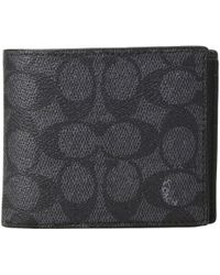 COACH - Compact Id Wallet In Signature Canvas (charcoal) Bags - Lyst