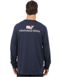Vineyard Vines - Long Sleeve Logo Graphic Pocket T-shirt (white Cap) Men's T Shirt - Lyst