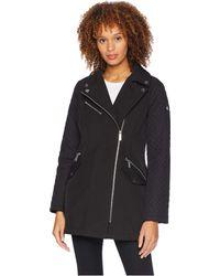 MICHAEL Michael Kors - Asymmetric Zip Front Softshell M523496gz (black) Women's Coat - Lyst