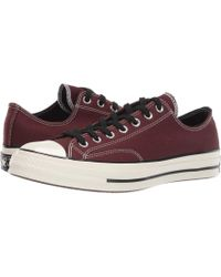c05182f4d08 Lyst - Converse Chuck 70 Leather - Ox (cherry Red black egret) Lace ...