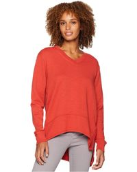 Mod-o-doc - Slub French Terry Long Sleeve V-neck Pullover With Side Slit (bonfire) Women's Clothing - Lyst
