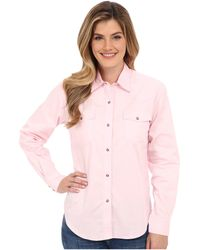 Roper - L/s Solid Basic Snap Front (blue) Women's Long Sleeve Button Up - Lyst