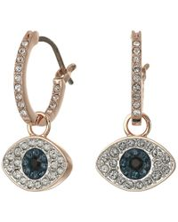 Swarovski - Duo Evil Eye Hoop Pierced Earrings (dark Multi) Earring - Lyst