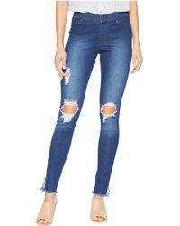 Hue - Ripped Ankle Slit Denim Leggings (black Wash) Women's Jeans - Lyst