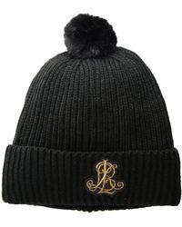 Lauren by Ralph Lauren - Rib Logo Patch Hat (medium Grey Heather) Cold Weather Hats - Lyst