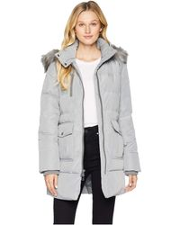 Marc New York - Astoria Down Filled Anorak With Faux Fur Trim Hood Patch Pockets (haze) Women's Coat - Lyst