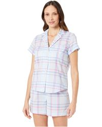 Lauren by Ralph Lauren - Short Sleeve Rolled Cuff Pointed Notch Collar Boxer Pajama Set (pink Paisley Print) Women's Pajama Sets - Lyst