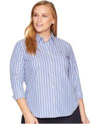 Lauren by Ralph Lauren - Plus Size Monogram Striped Shirt (blue Multi) Women's Clothing - Lyst