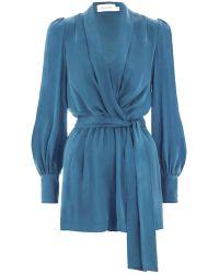 2ad019f1486 Zimmermann - Wrap Playsuit - Lyst. Louis Vuitton - Pink Silk ...