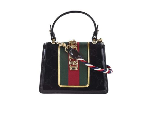 601ae11cf Gucci Sylvie Mini Bag In Gg Black Velvet With Black Patent Leather Trim in  Black - Lyst