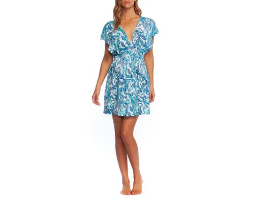 a6c9fddabb6bb Lyst - Lauren by Ralph Lauren Fiesta Paisley Printed Tunic Cover Up in Blue