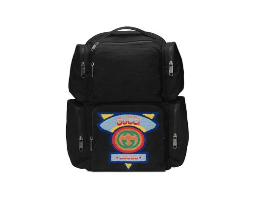 fcb416980c2f Gucci Black Large Backpack With '80s Patch in Black for Men - Lyst
