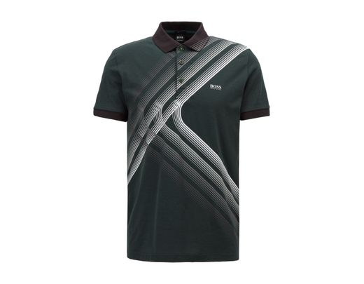 Boss Graphic Print Cotton Jersey Polo Shirt In Green For Men