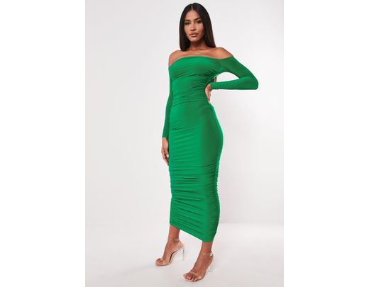 919f5e100576 Missguided Green Bardot Slinky Ruched Bodycon Midaxi Dress in Green - Lyst
