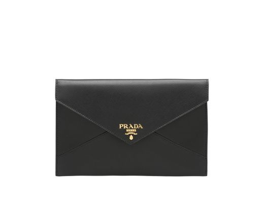 8ac99cae4624 Lyst - Prada Saffiano Document Holder Set in Black